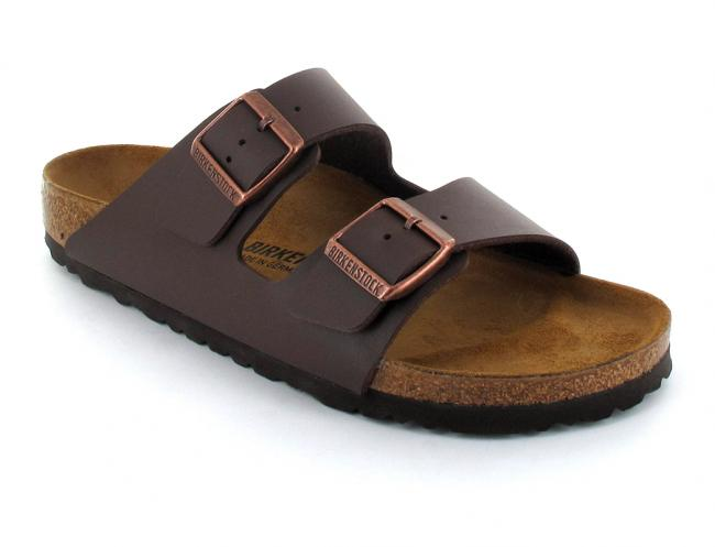 BIRKENSTOCK® Faux Leather Sandals | Arizona, dark brown | Slim Edition