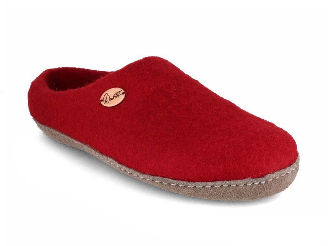 Wool Fit® Felt Slippers   Footprint, dark red
