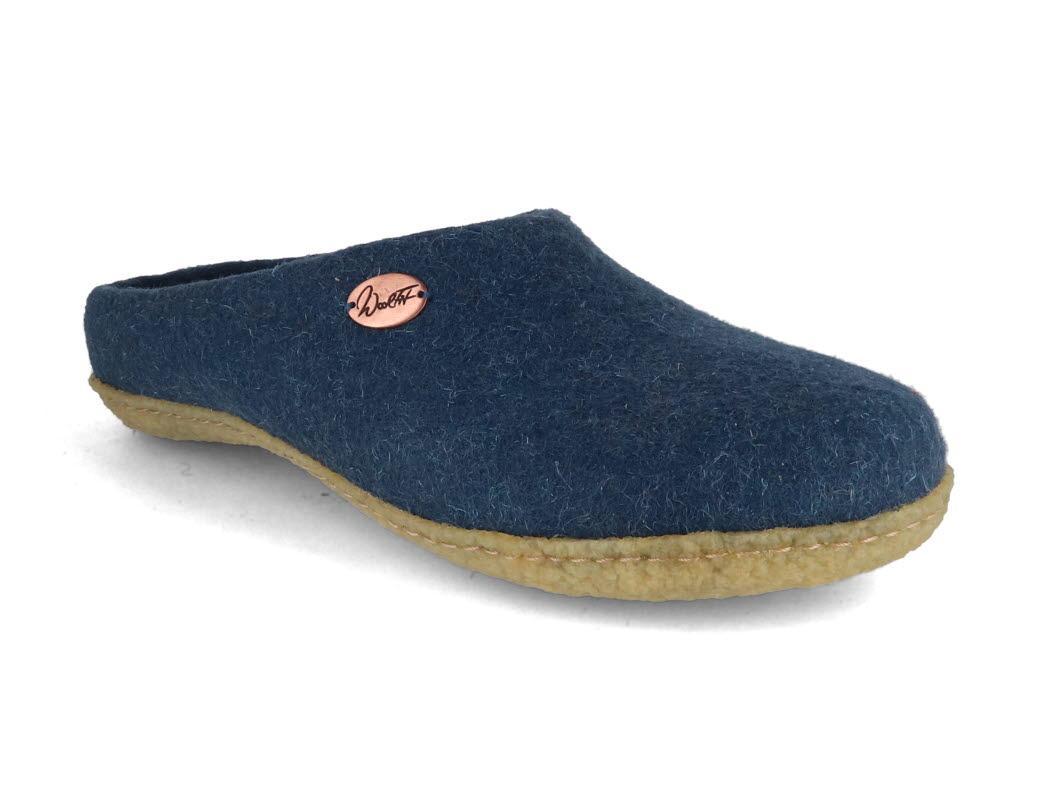 WoolFit® 'Classic' handfelted Slippers with Natural Rubber Sole, blue